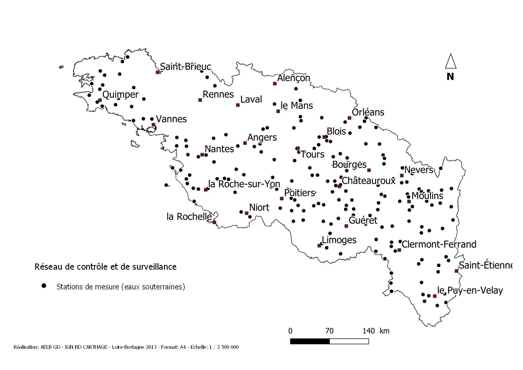 Image de la carte des stations de mesures pour le réseau de contrôle et de surveillance pour les eaux souterraines