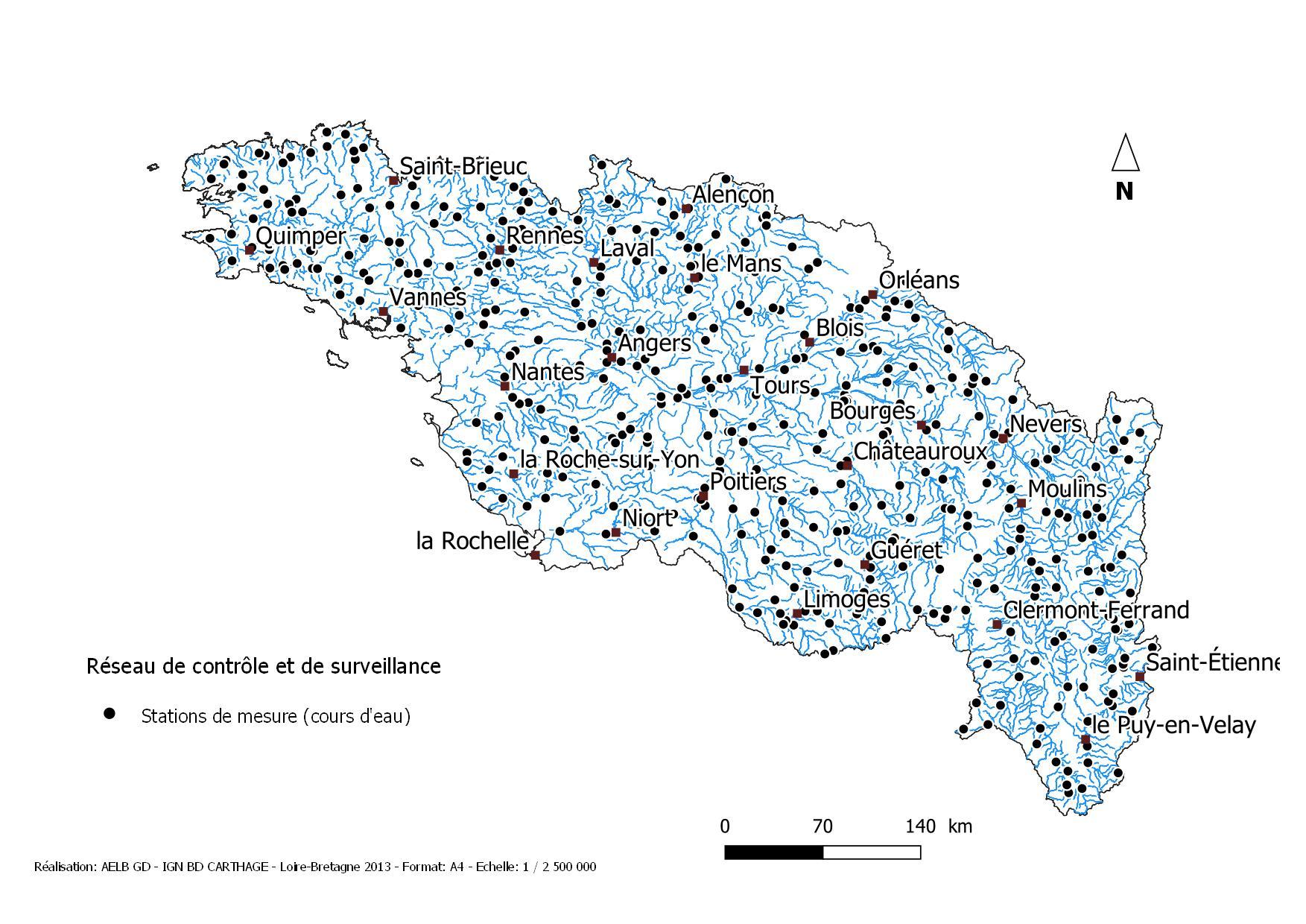 Image de la carte des stations de mesures pour le réseau de contrôle et de surveillance pour les cours d'eau