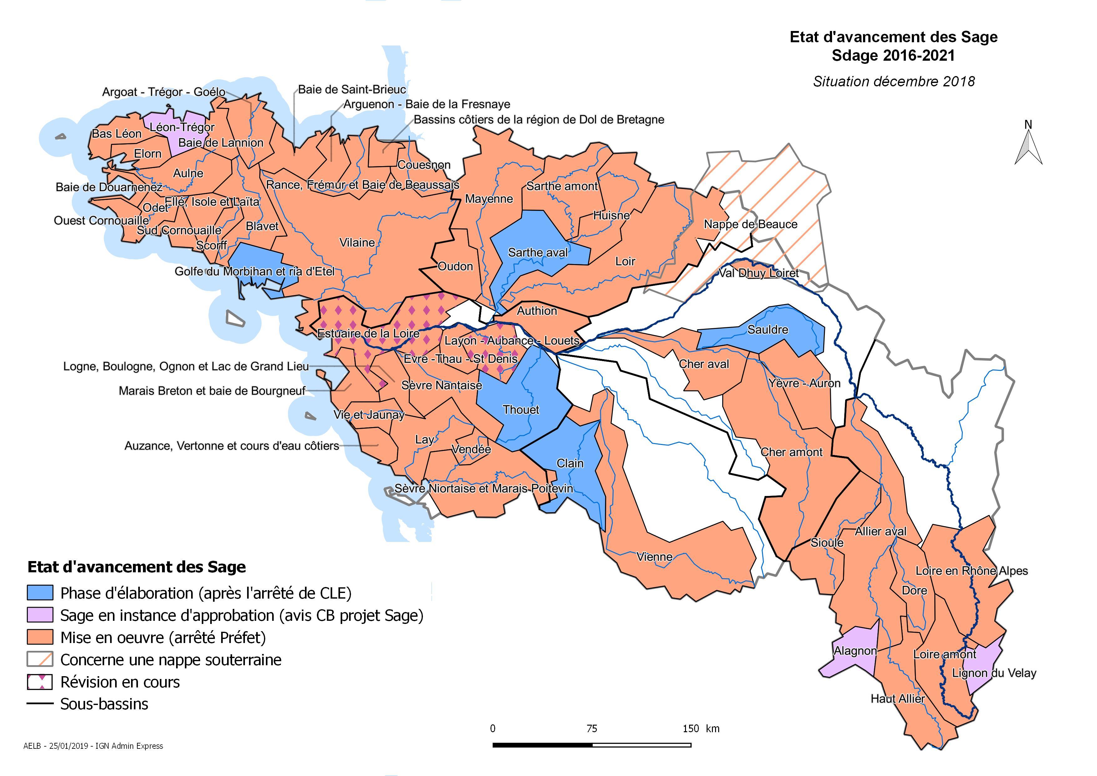 Etat d'avancement des Sage Loire-Bretagne - situation décembre 2018