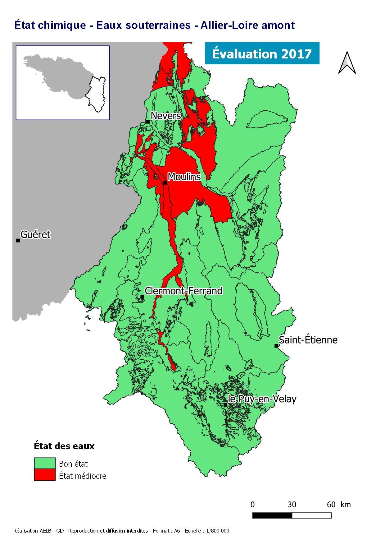 Évaluation 2017 de l'état chimique des eaux souterraines - Allier Loire amont