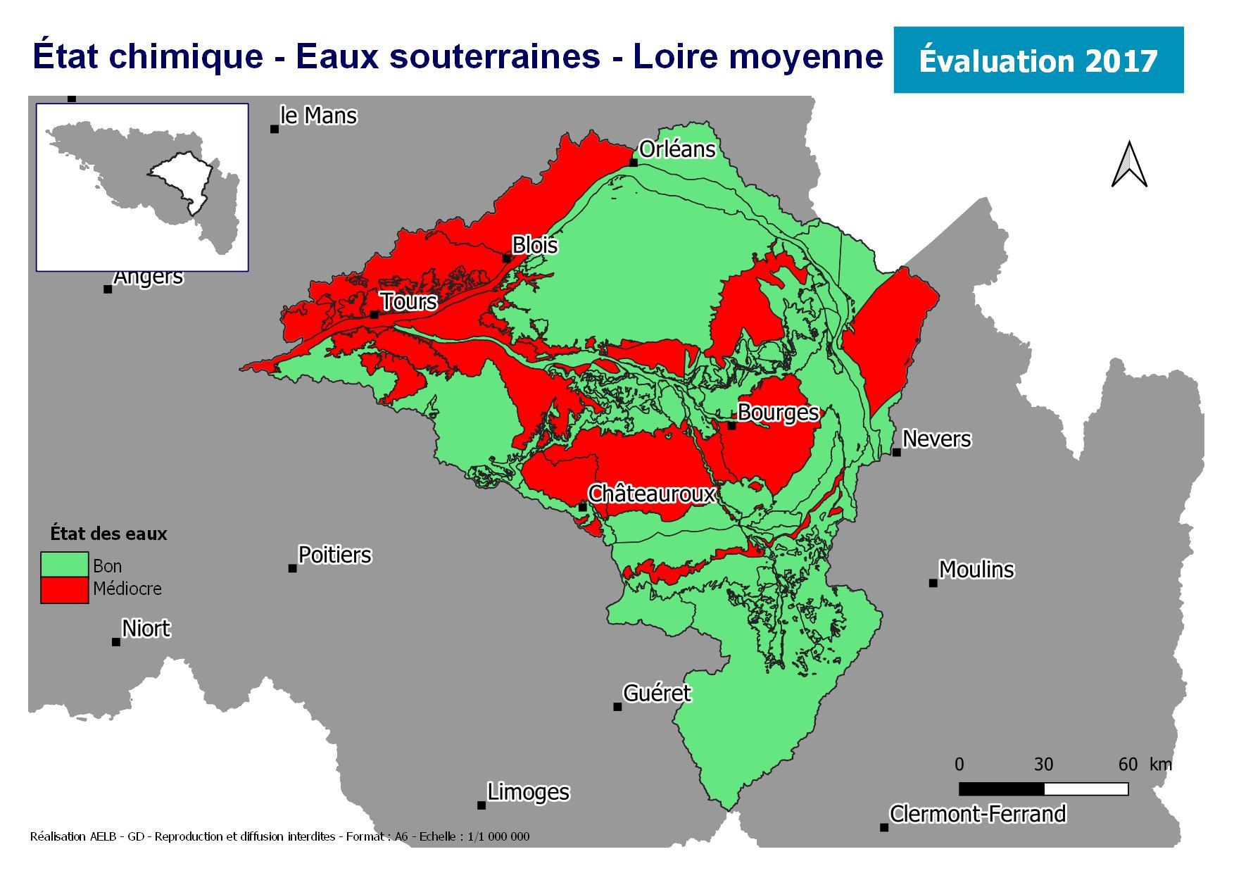 Évaluation 2017 de l'état chimique des eaux souterraines - Loire moyenne