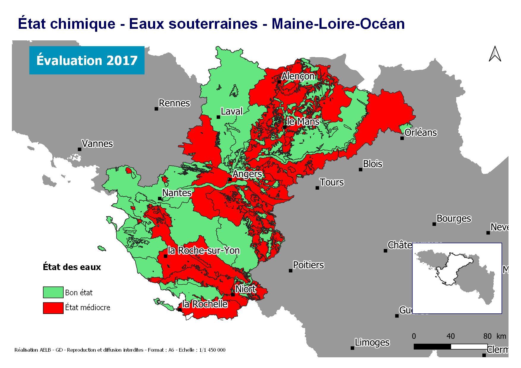 Évaluation 2017 de l'état chimique des eaux souterraines - Maine Loire-Océan