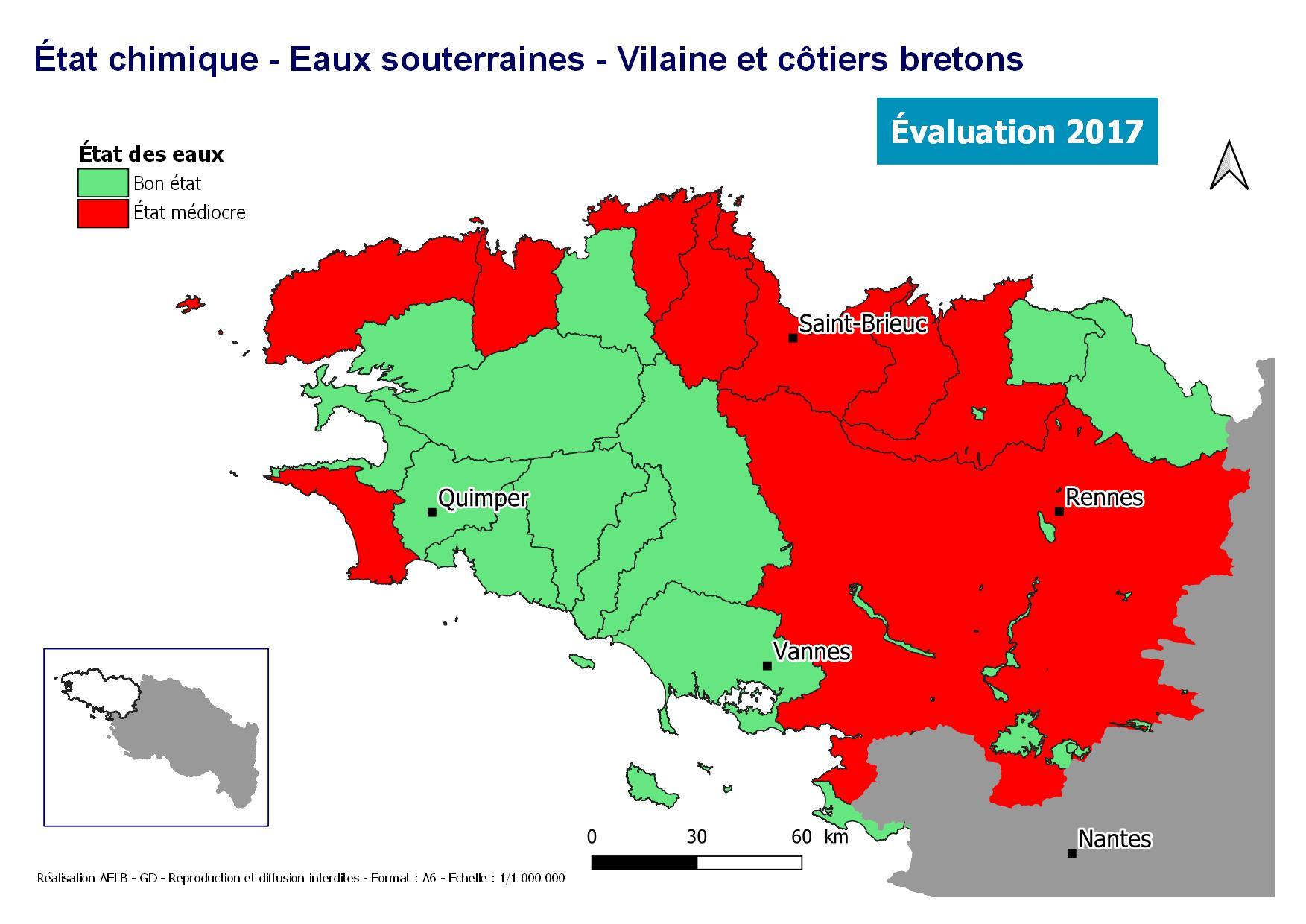 Évaluation 2017 de l'état chimique des eaux souterraines - Vilaine et côtiers bretons