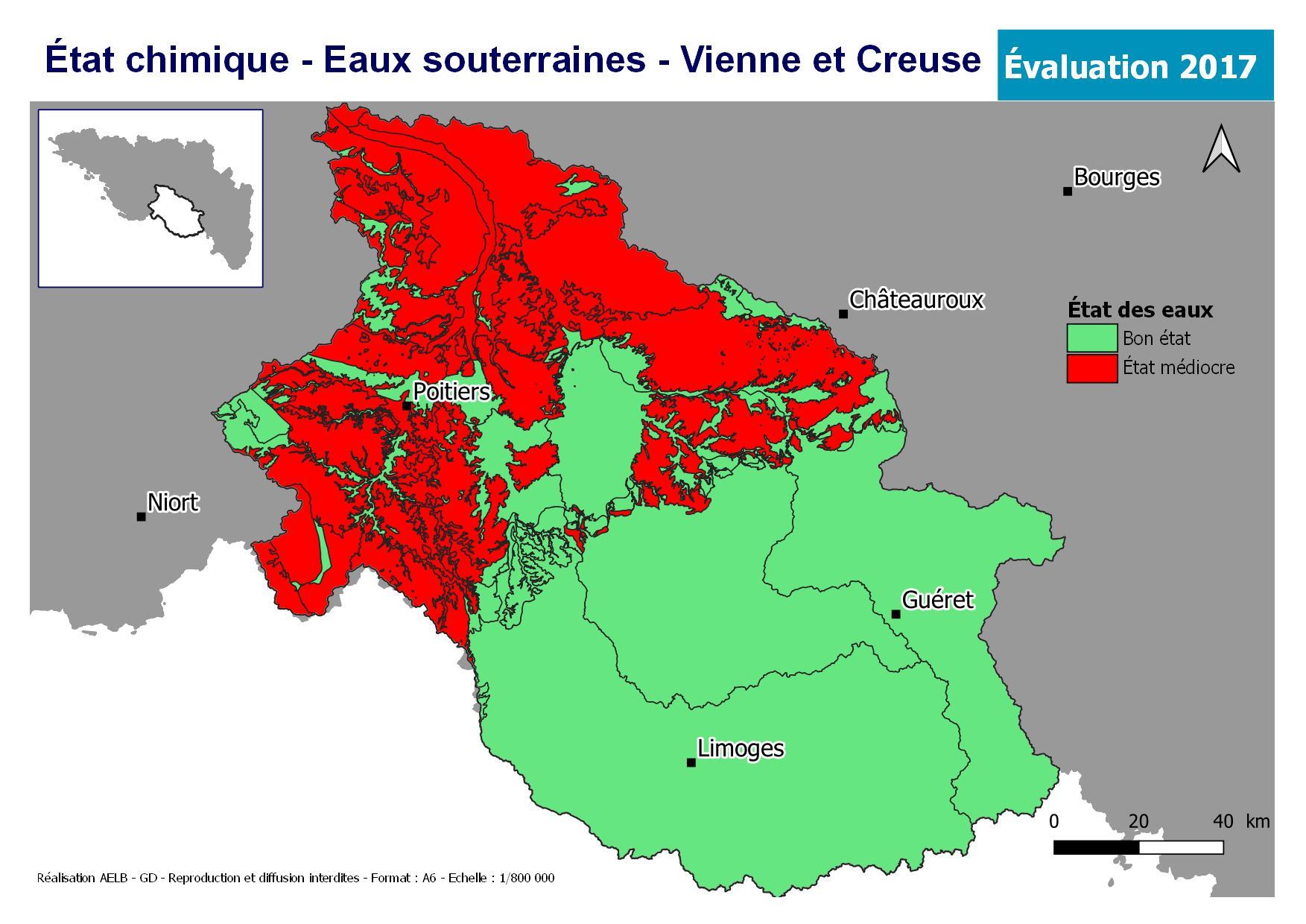 Évaluation 2017 de l'état chimique des eaux souterraines - Vienne Creuse