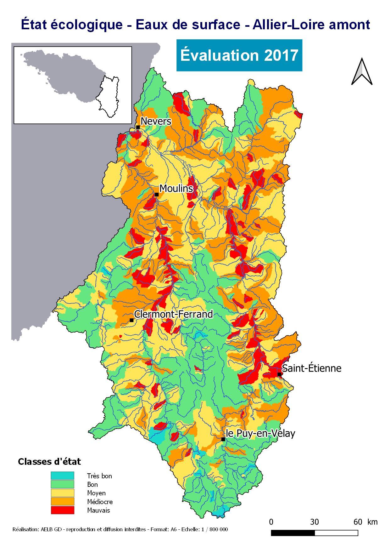 Évaluation 2017 de l'état écologique des eaux de surface- Allier- Loire amont