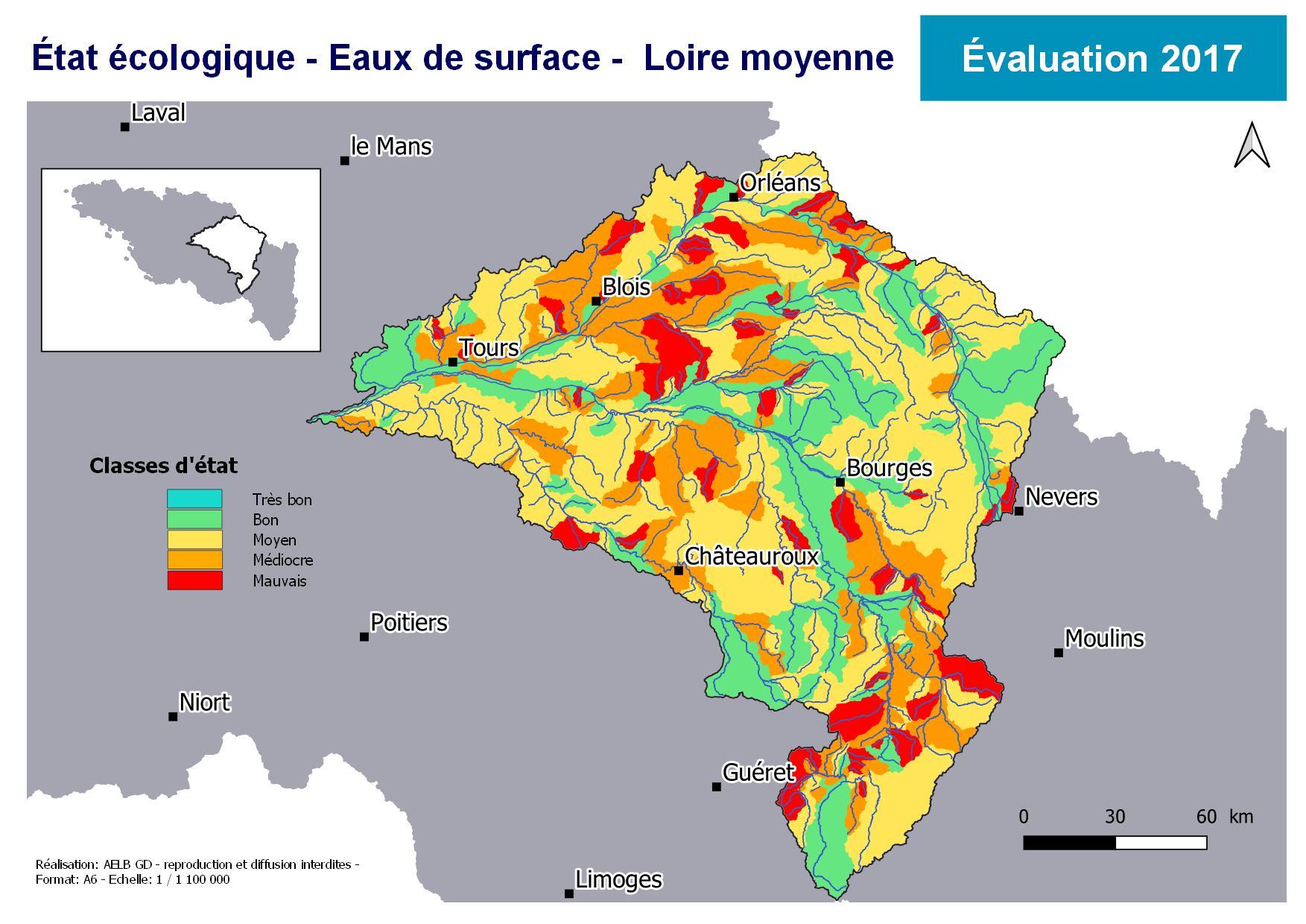 Évaluation 2017 de l'état écologique des eaux de surface en Loire moyenne