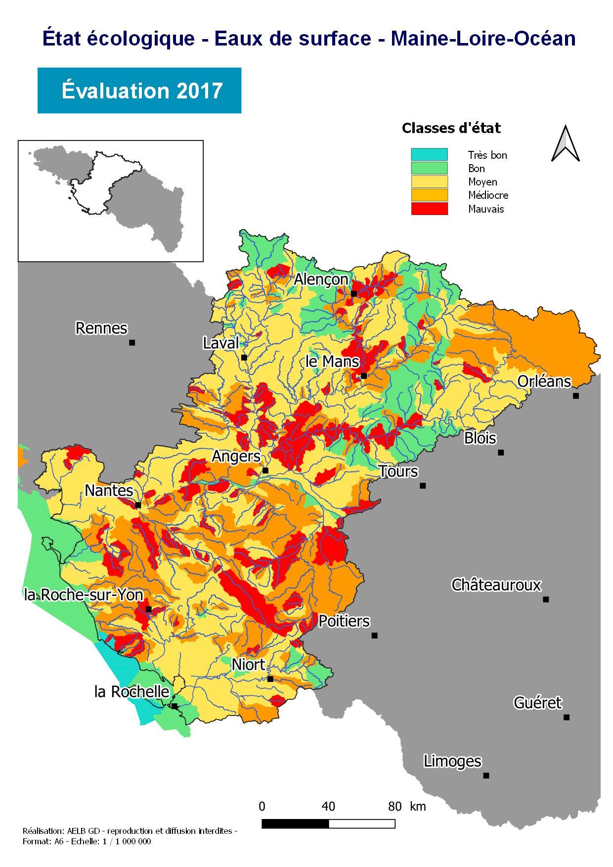 Évaluation 2017 de l'état écologique des eaux de surface - Maine-Loire-Océan