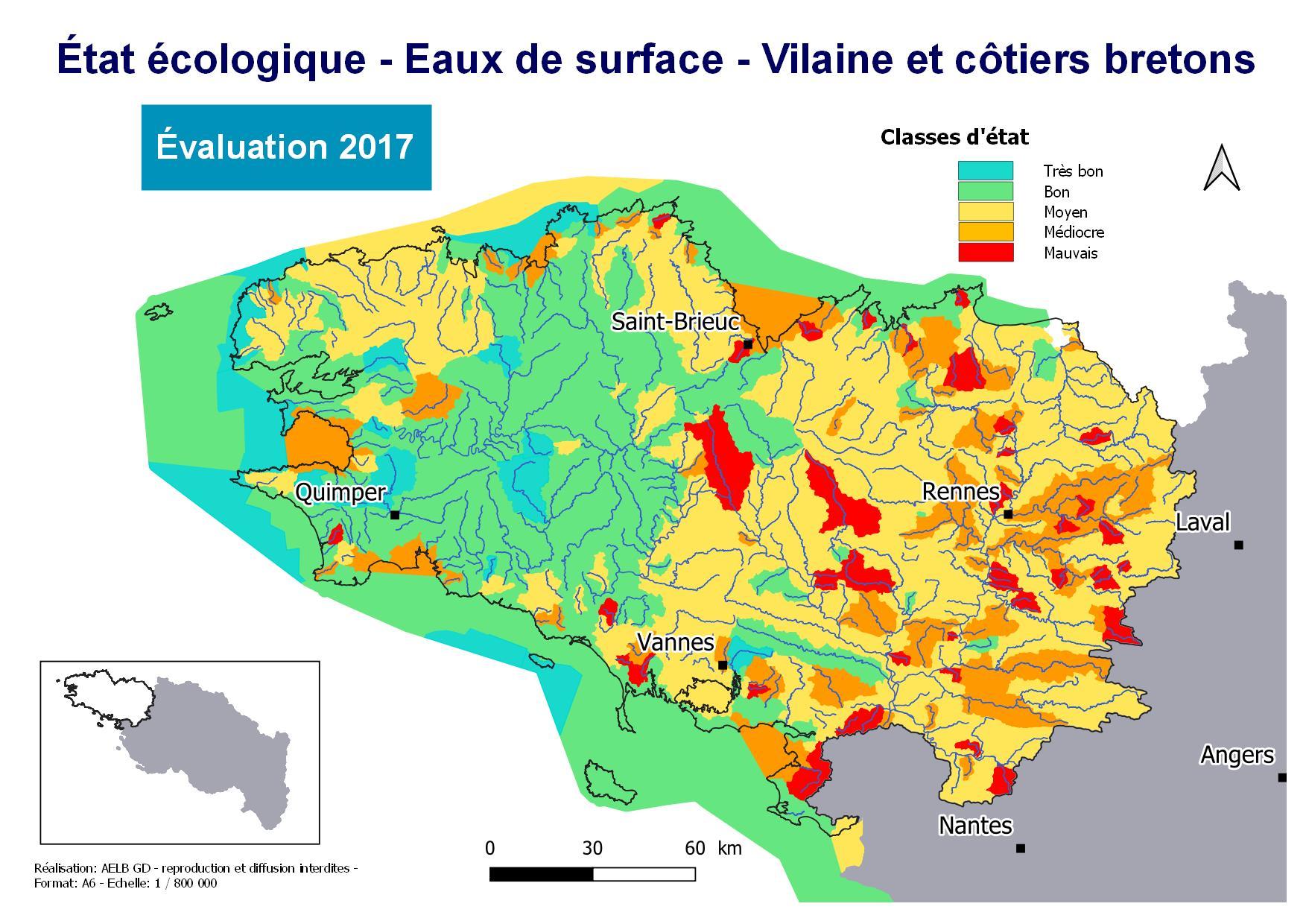 Évaluation 2017 de l'état écologique des eaux de surface - Vilaine et côtiers bretons