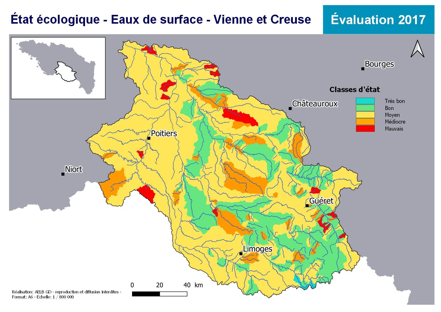 Évaluation 2017 de l'état écologique des eaux de surface - Vienne Creuse