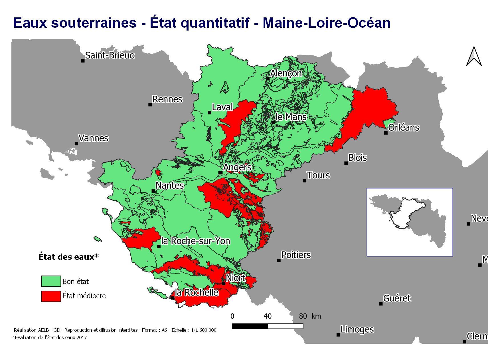 Évaluation 2017 de l'état quantitatif des eaux souterraines - Maine Loire océan