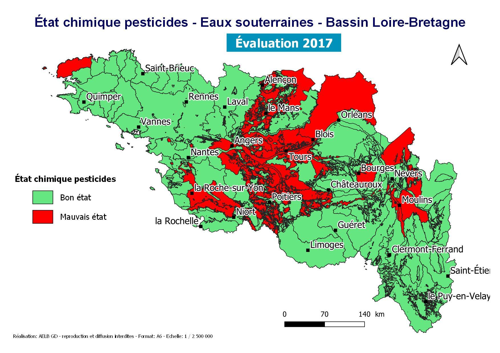 État chimique pesticides - Eaux souterraines - Bassin Loire-Bretagne