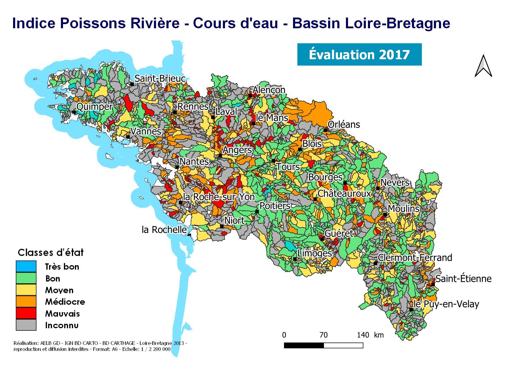 Évaluation 2017 pour l'indice poissons de l'état des cours d'eau