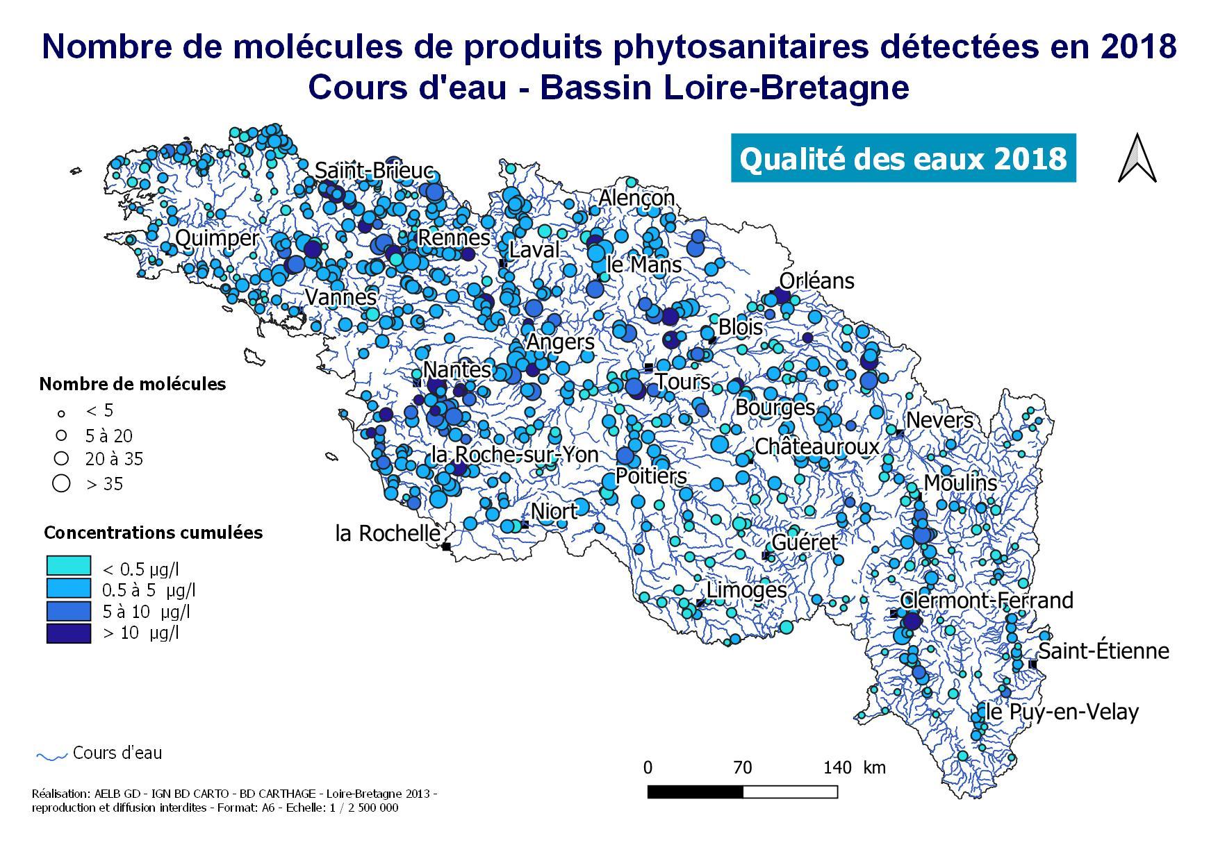 Qualité des cours d'eaux 2018 pour les produits phytosanitaires en Loire-Bretagne