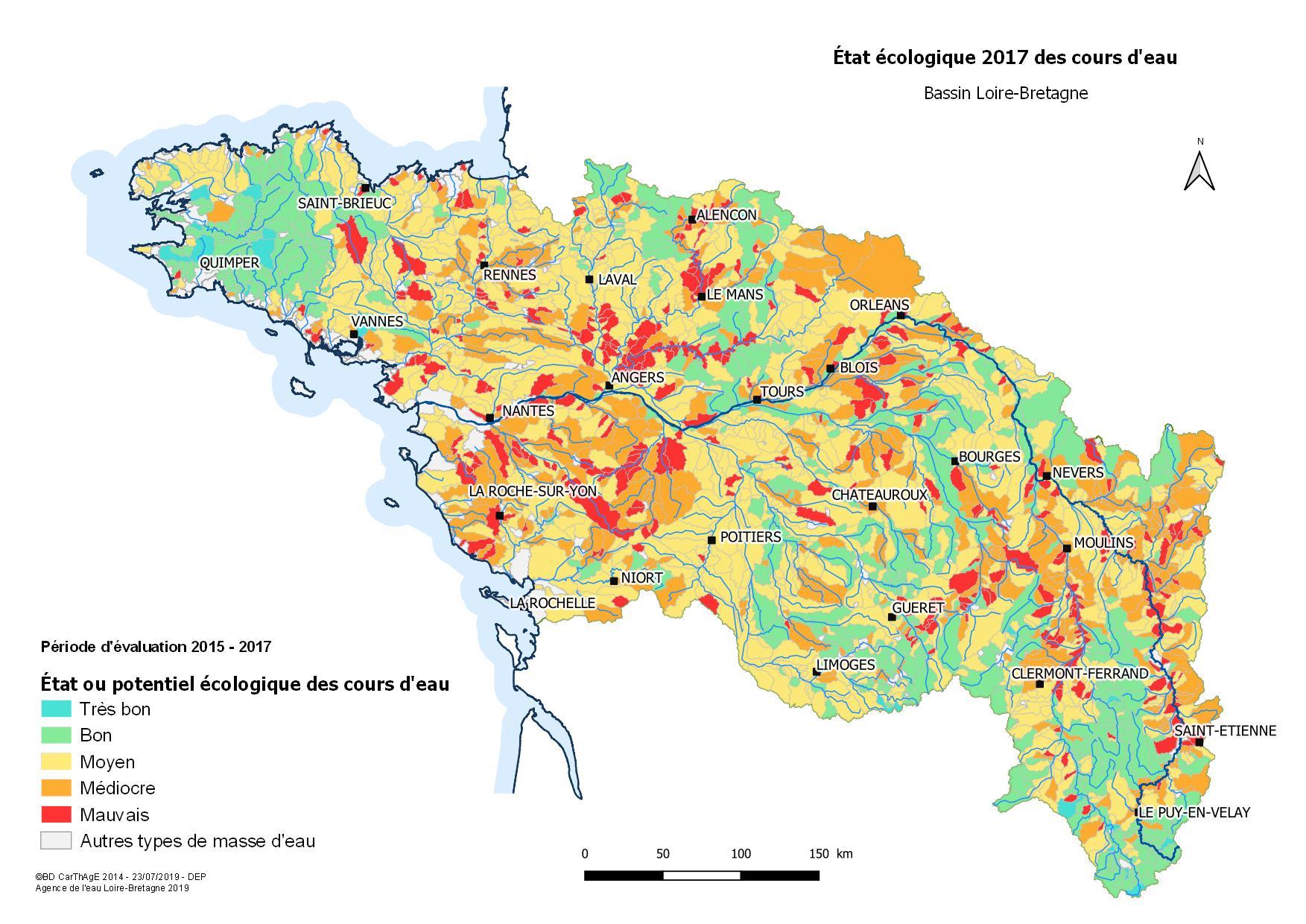 État écologique 2017 des cours d'eau - Bassin Loire-Bretagne