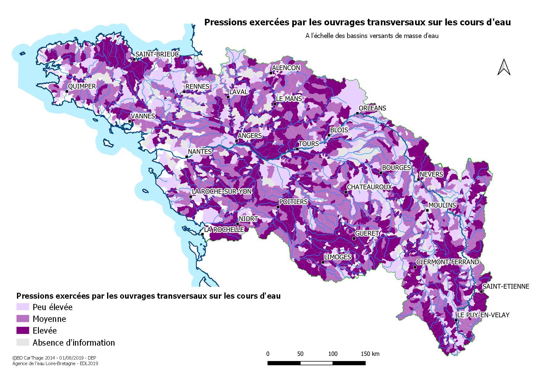 Pressions exercées par les ouvrages transversaux sur les cours d'eau