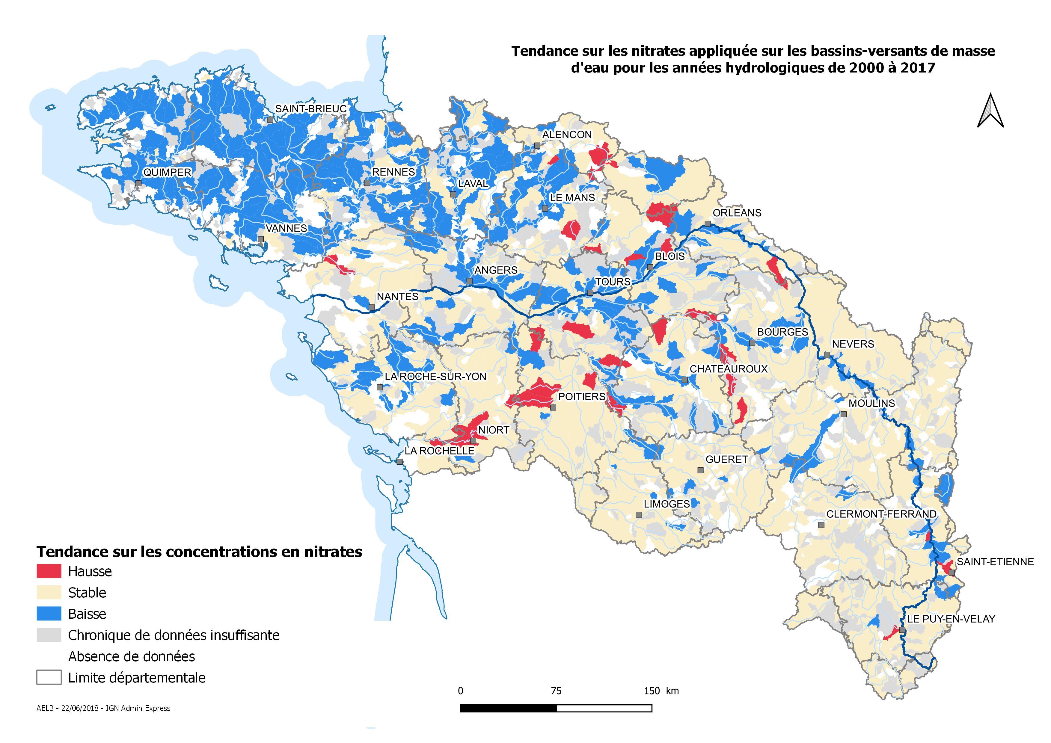 Évolution, de 2000 à 2017, de la concentration de nitrates sur les bassins versants des masses d'eau