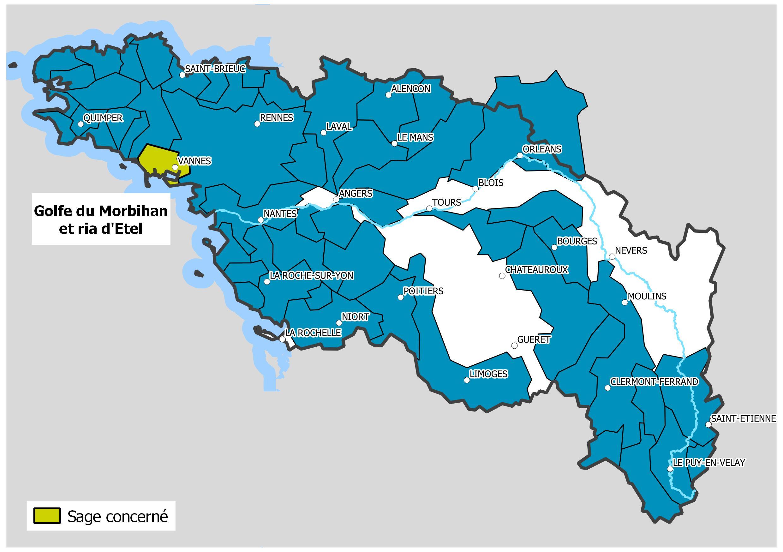 Carte des territoires des Sage du bassin Loire-Bretagne avec la localisation du Sage Golfe du Morbihan et ria d'Etel.