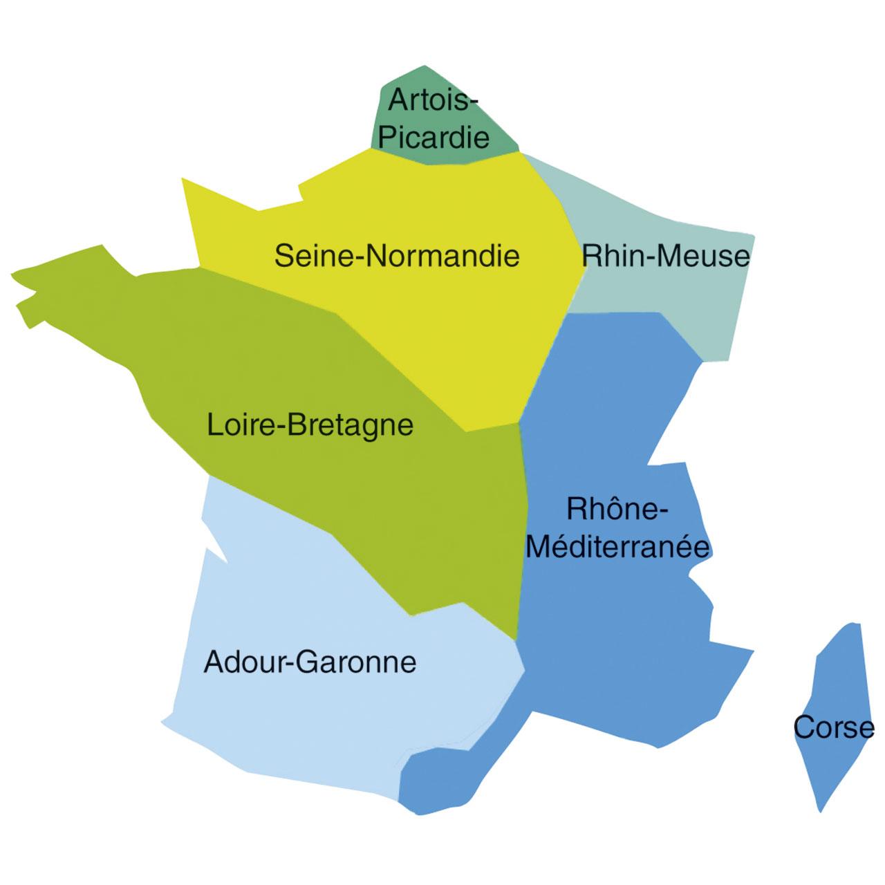 Carte des 6 agences de l'eau en France, qui correspondent aux septs bassins versants : Artois-Picardie, Seine-Normandie, Rhin-Meuse, Loire-Bretagne, Rhône-Méditerranée, Corse, Adour-Garonne
