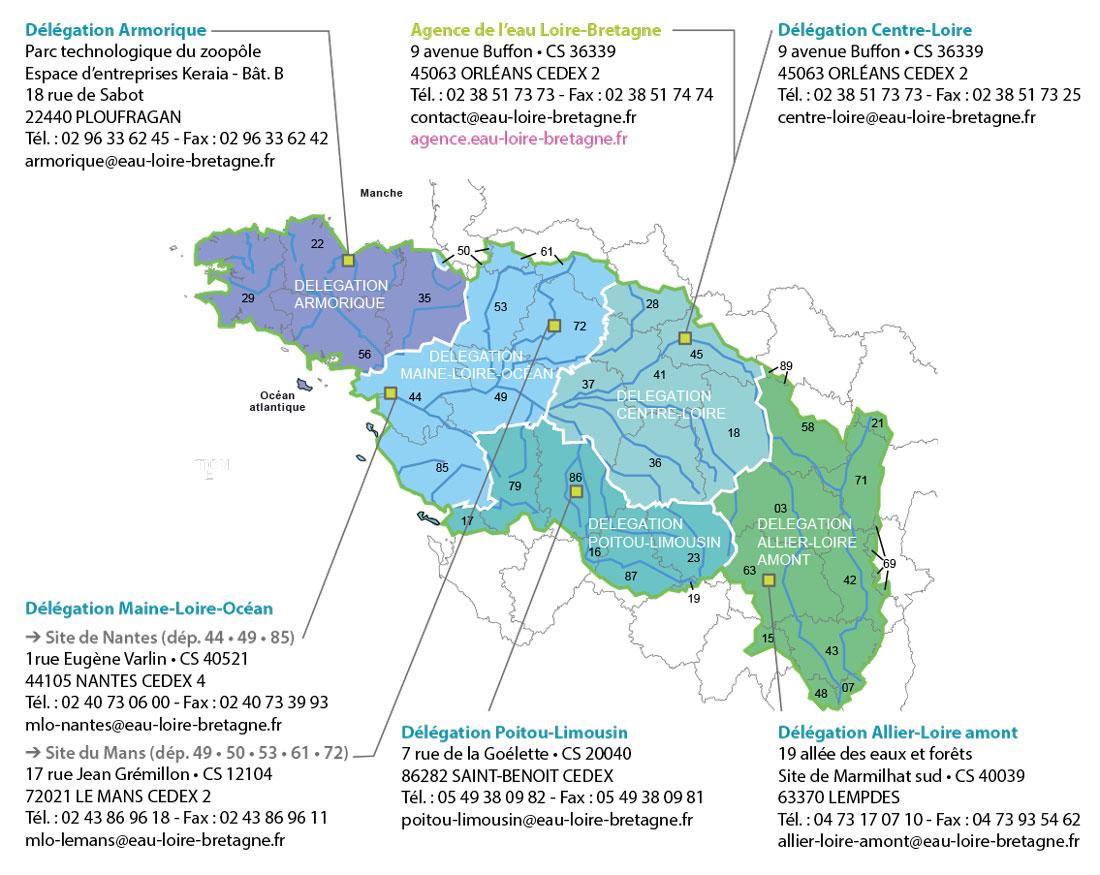 Carte et adresses de l'agence de l'eau Loire-Bretagne et de ses 5 délégations